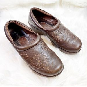 Ariat ATS Brown Leather Embroidered Floral Clogs